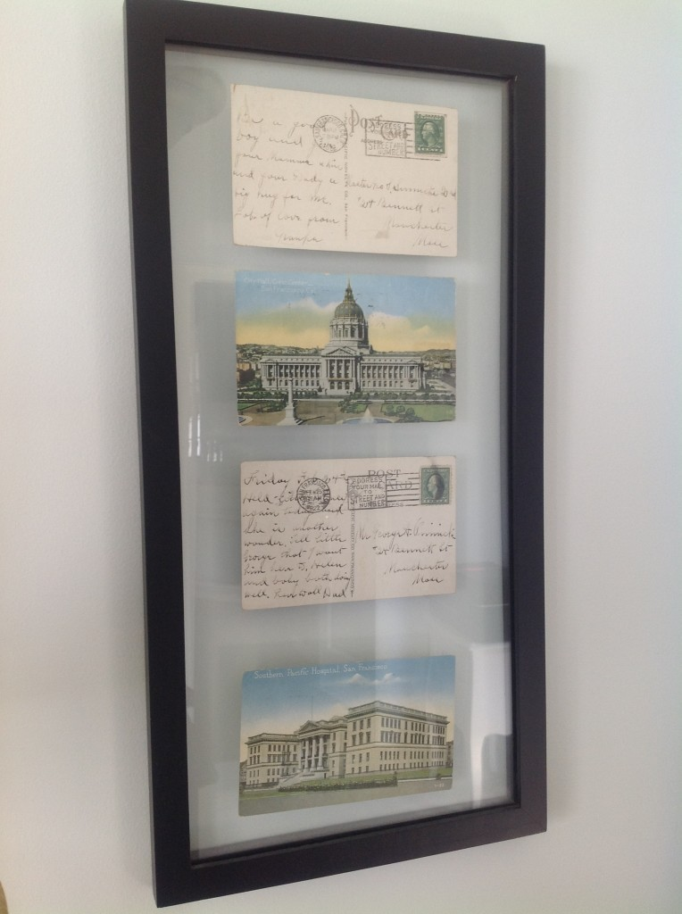 framing vintage postcards