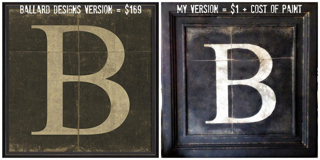 ballard inpsired B monogram art side by side