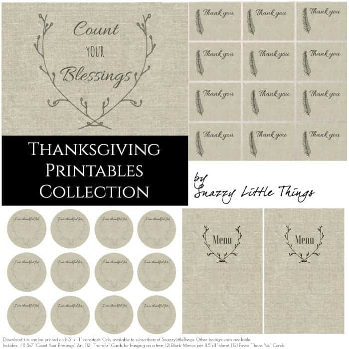 Thanksgiving Linen Printables Collection